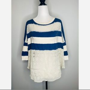 Free People Striped Lace Short-sleeve shirt casual